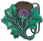 Thistle Belt Buckle with display stand. Code KM5